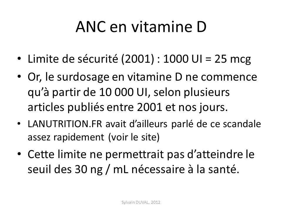 ANC en vitamine D Limite de sécurité (2001) : 1000 UI = 25 mcg Or, le surdosage en vitamine D ne commence quà partir de 10 000 UI, selon plusieurs articles publiés entre 2001 et nos jours.