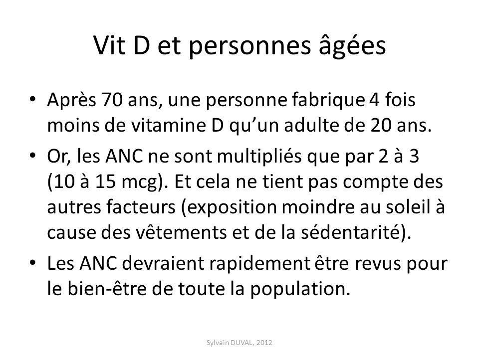 Vit D et personnes âgées Après 70 ans, une personne fabrique 4 fois moins de vitamine D quun adulte de 20 ans. Or, les ANC ne sont multipliés que par