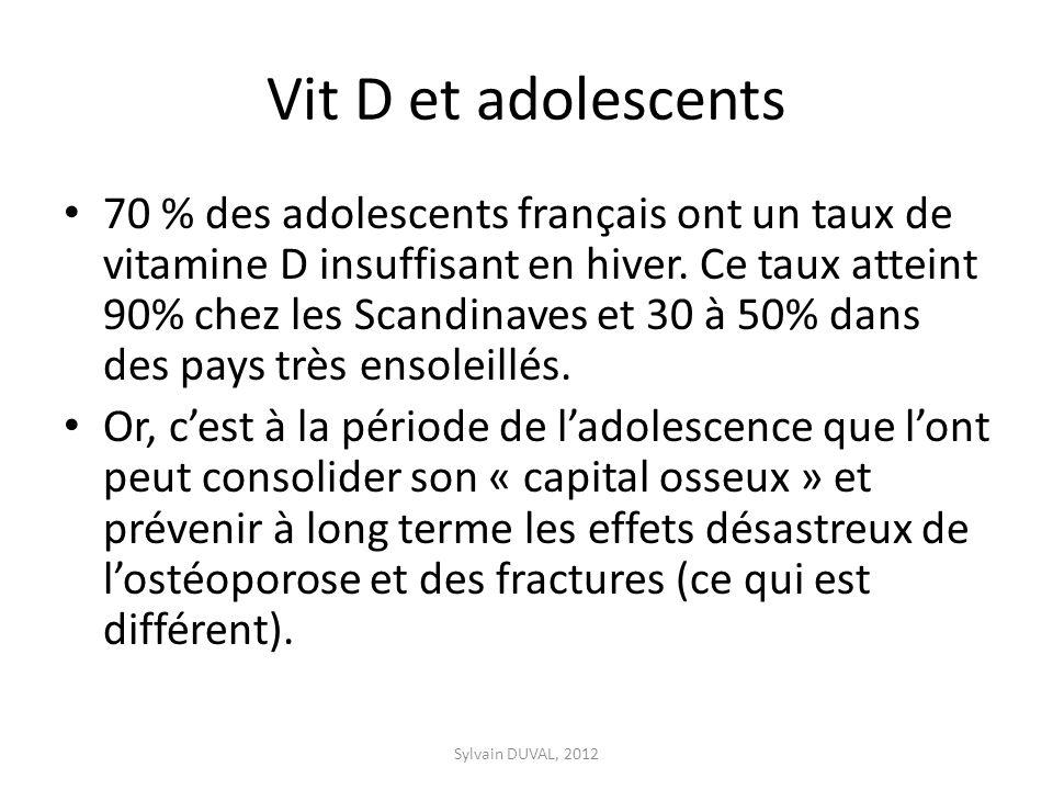 Vit D et adolescents 70 % des adolescents français ont un taux de vitamine D insuffisant en hiver. Ce taux atteint 90% chez les Scandinaves et 30 à 50