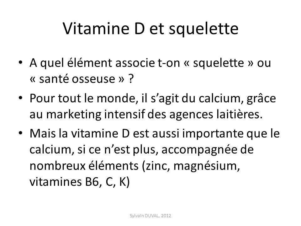 Vitamine D et squelette A quel élément associe t-on « squelette » ou « santé osseuse » ? Pour tout le monde, il sagit du calcium, grâce au marketing i