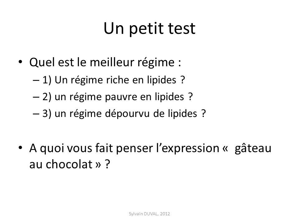 Un petit test Quel est le meilleur régime : – 1) Un régime riche en lipides ? – 2) un régime pauvre en lipides ? – 3) un régime dépourvu de lipides ?