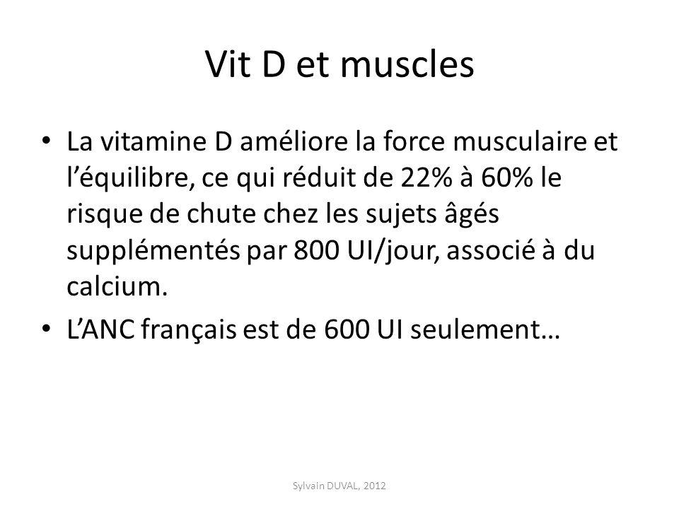 Vit D et muscles La vitamine D améliore la force musculaire et léquilibre, ce qui réduit de 22% à 60% le risque de chute chez les sujets âgés supplémentés par 800 UI/jour, associé à du calcium.