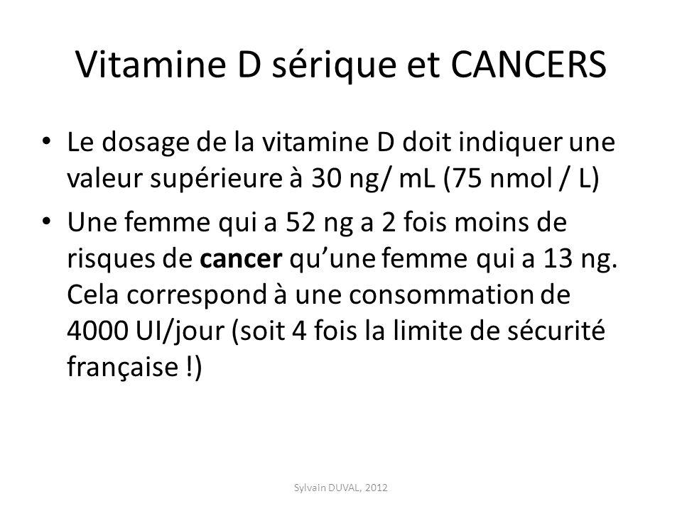 Vitamine D sérique et CANCERS Le dosage de la vitamine D doit indiquer une valeur supérieure à 30 ng/ mL (75 nmol / L) Une femme qui a 52 ng a 2 fois moins de risques de cancer quune femme qui a 13 ng.