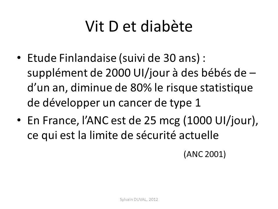 Vit D et diabète Etude Finlandaise (suivi de 30 ans) : supplément de 2000 UI/jour à des bébés de – dun an, diminue de 80% le risque statistique de développer un cancer de type 1 En France, lANC est de 25 mcg (1000 UI/jour), ce qui est la limite de sécurité actuelle (ANC 2001) Sylvain DUVAL, 2012