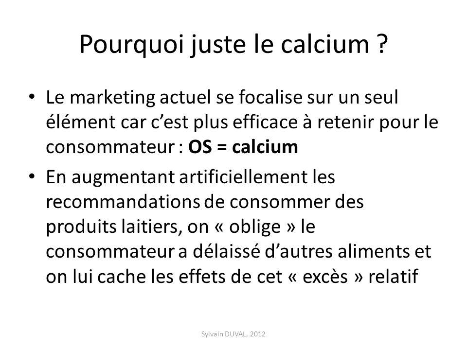 Pourquoi juste le calcium ? Le marketing actuel se focalise sur un seul élément car cest plus efficace à retenir pour le consommateur : OS = calcium E