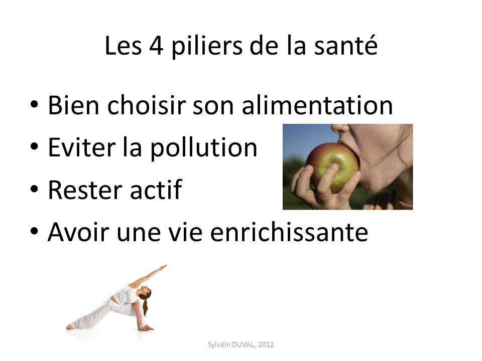 Les 4 piliers de la santé Bien choisir son alimentation Eviter la pollution Rester actif Avoir une vie enrichissante Sylvain DUVAL, 2012