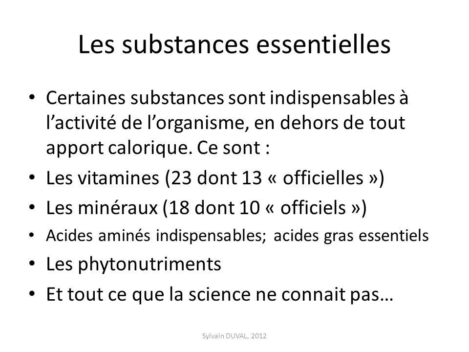 Les substances essentielles Certaines substances sont indispensables à lactivité de lorganisme, en dehors de tout apport calorique.