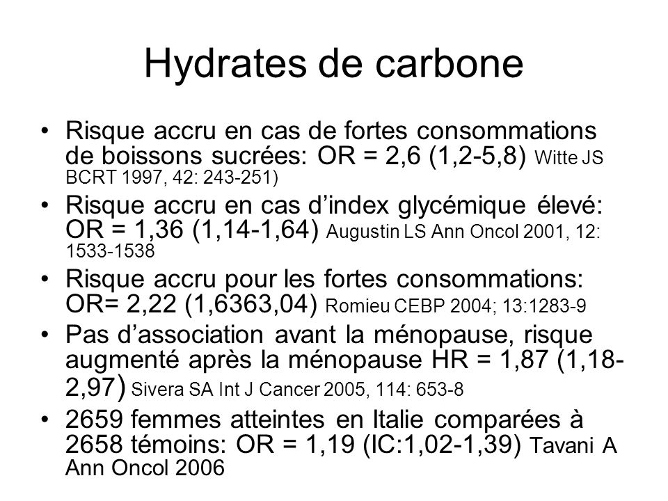 Hydrates de carbone : études prospectives ÉtudesKSTotal Pré méno Post méno Holmes4092NS Jonas1442NS Folsom2031NS Silvera1461NS1,87*0,78 Cho7141,47* Higginbottra m 946NS2,35*