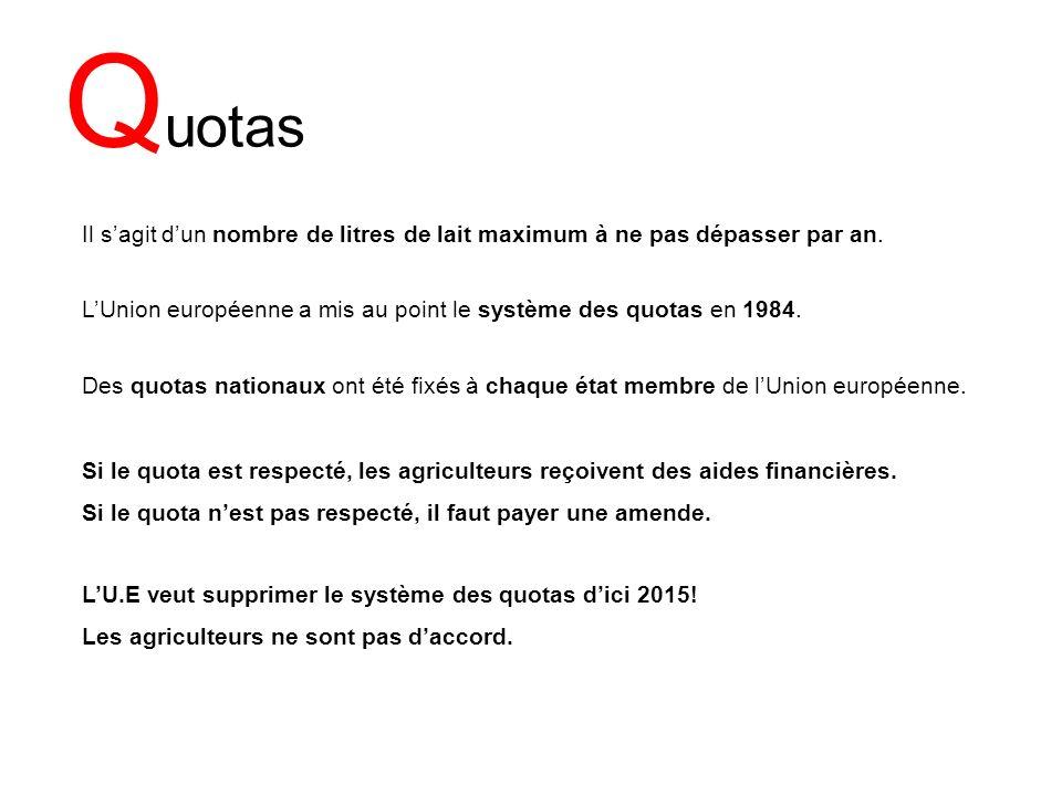 Q uotas LUnion européenne a mis au point le système des quotas en 1984. Des quotas nationaux ont été fixés à chaque état membre de lUnion européenne.