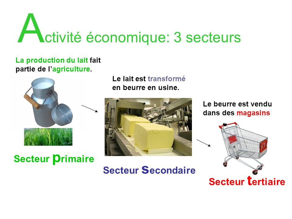 A ctivité économique: 3 secteurs La production du lait fait partie de lagriculture. Secteur p rimaire Le lait est transformé en beurre en usine. Secte