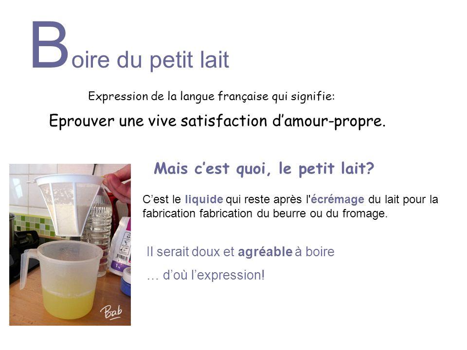 B oire du petit lait Eprouver une vive satisfaction damour-propre. Cest le liquide qui reste après l'écrémage du lait pour la fabrication fabrication