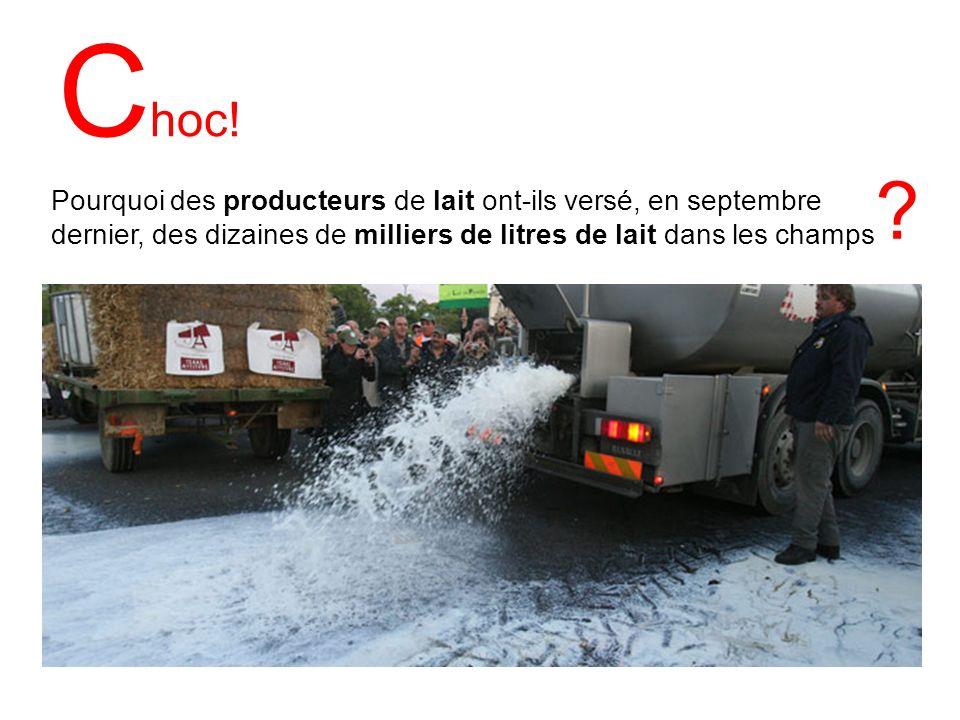 C hoc! Pourquoi des producteurs de lait ont-ils versé, en septembre dernier, des dizaines de milliers de litres de lait dans les champs ?