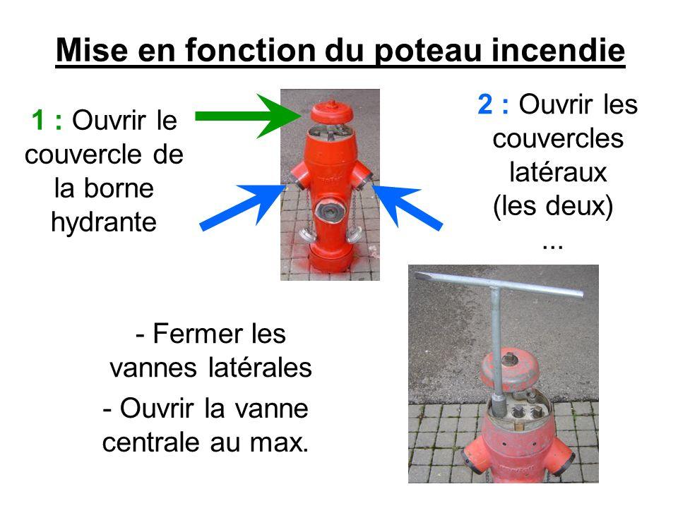 - Purger le poteau Mise en fonction du poteau incendie (2) - Fermer les vannes latérales et brancher le tuyau.