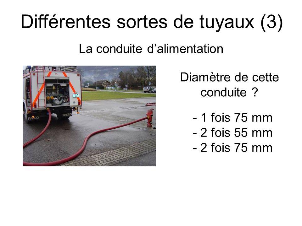 Différentes sortes de tuyaux (4) La conduite de transport Diamètre de cette conduite ? - 75 mm