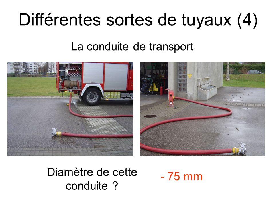 Différentes sortes de tuyaux (5) La conduite de refoulement Diamètre de cette conduite .