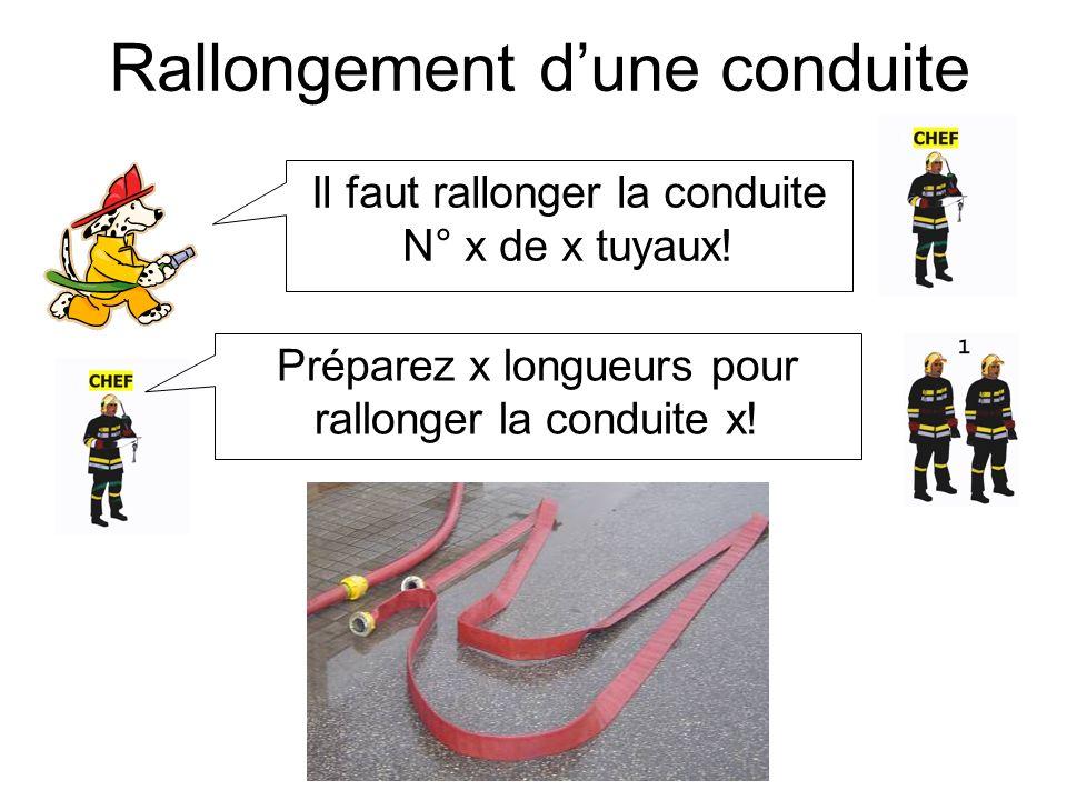 Rallongement dune conduite (2) Conduite prête! Conduite N° x halte! Rallonger la conduite!