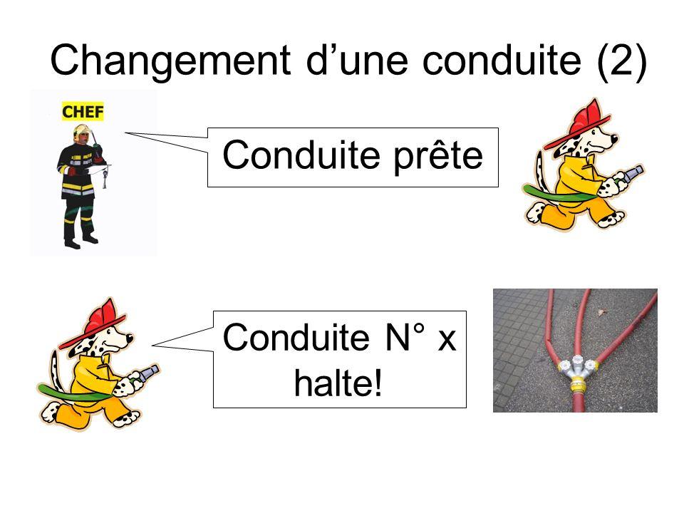 Changement dune conduite (3) Changer la conduite! Conduite prête! Conduite N° x de leau!