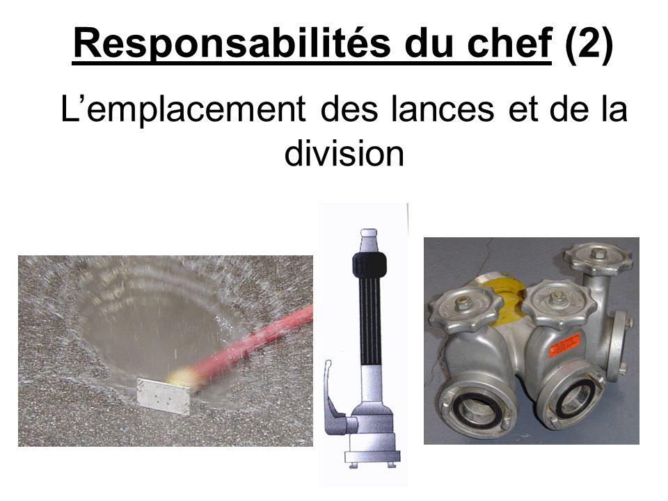 Responsabilités du chef (3) Contrôle les conduites et les raccords quand le porte lance demande de leau.
