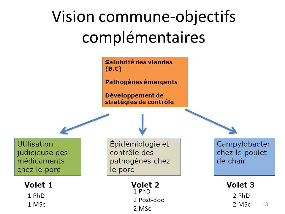 Vision commune-objectifs complémentaires 13 Salubrité des viandes (B,C) Pathogènes émergents Développement de stratégies de contrôle Utilisation judicieuse des médicaments chez le porc Épidémiologie et contrôle des pathogènes chez le porc Campylobacter chez le poulet de chair Volet 1 Volet 2 Volet 3 1 PhD 1 MSc 1 PhD 2 Post-doc 2 MSc 2 PhD 2 MSc