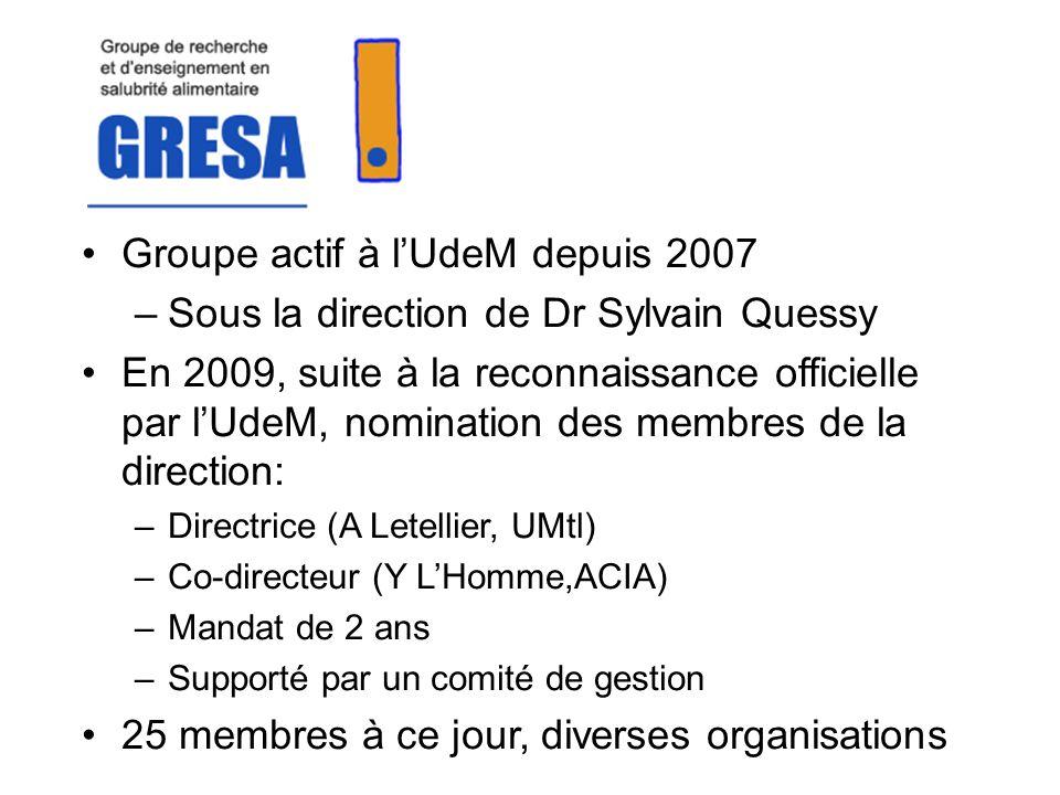 Groupe actif à lUdeM depuis 2007 –Sous la direction de Dr Sylvain Quessy En 2009, suite à la reconnaissance officielle par lUdeM, nomination des membres de la direction: –Directrice (A Letellier, UMtl) –Co-directeur (Y LHomme,ACIA) –Mandat de 2 ans –Supporté par un comité de gestion 25 membres à ce jour, diverses organisations