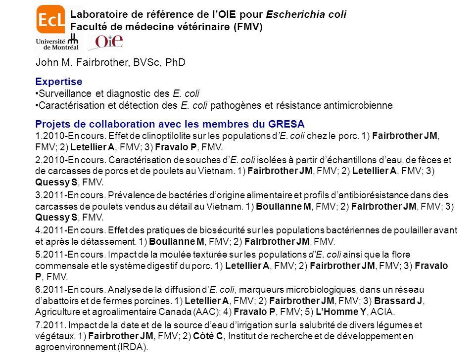 Expertise Surveillance et diagnostic des E.coli Caractérisation et détection des E.