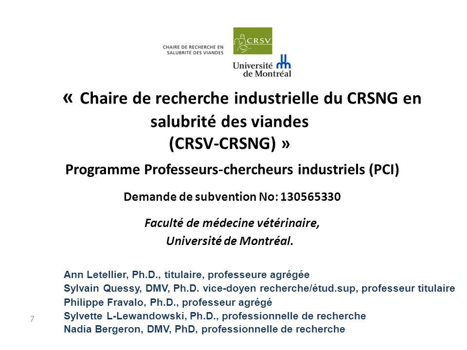 « Chaire de recherche industrielle du CRSNG en salubrité des viandes (CRSV-CRSNG) » Programme Professeurs-chercheurs industriels (PCI) Demande de subvention No: 130565330 Faculté de médecine vétérinaire, Université de Montréal.