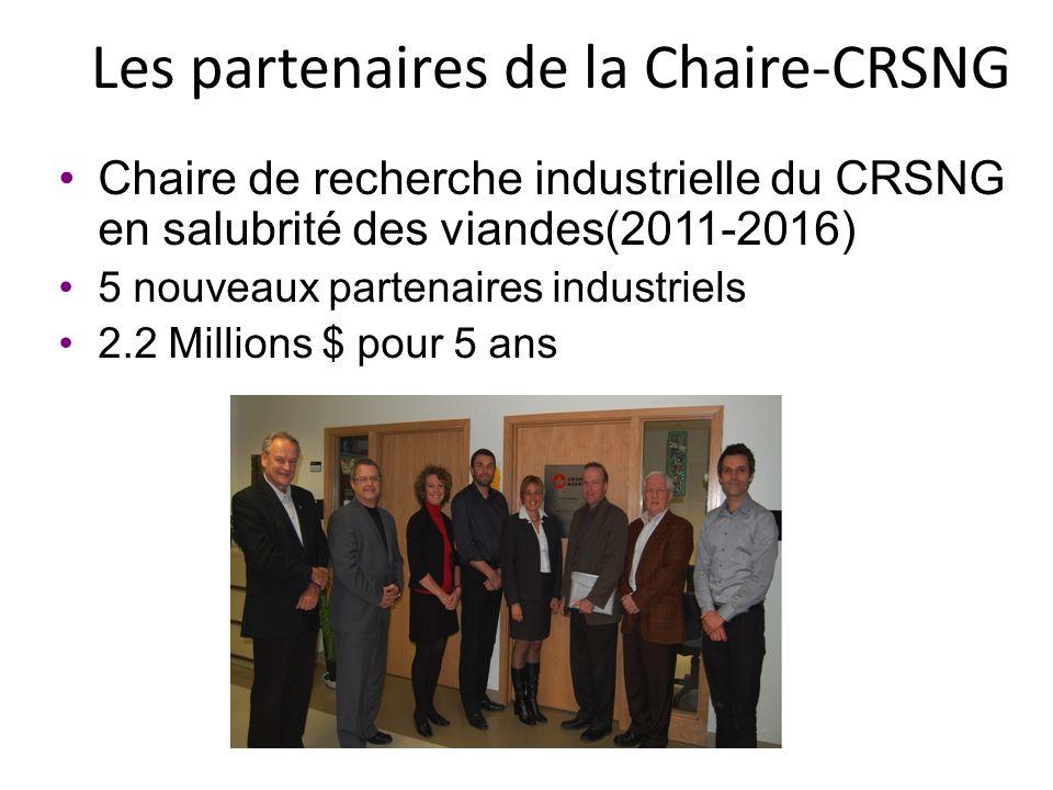 Les partenaires de la Chaire-CRSNG Chaire de recherche industrielle du CRSNG en salubrité des viandes(2011-2016) 5 nouveaux partenaires industriels 2.2 Millions $ pour 5 ans
