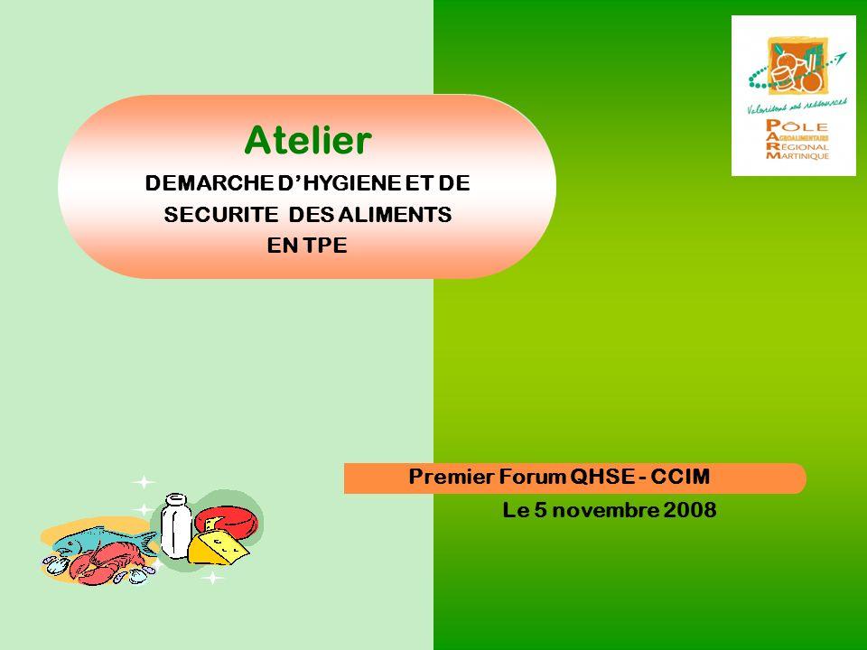 PARM – avril 2008 Premier Forum QHSE - CCIM Le 5 novembre 2008 Atelier DEMARCHE DHYGIENE ET DE SECURITE DES ALIMENTS EN TPE