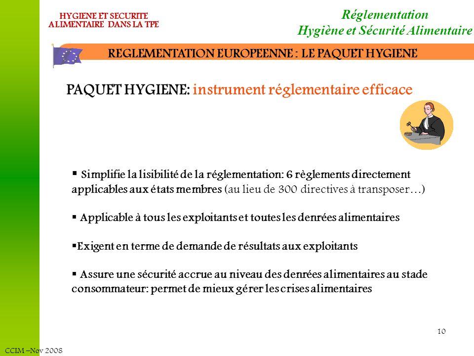 CCIM –Nov 2008 HYGIENE ET SECURITE ALIMENTAIRE DANS LA TPE 10 REGLEMENTATION EUROPEENNE : LE PAQUET HYGIENE Réglementation Hygiène et Sécurité Aliment