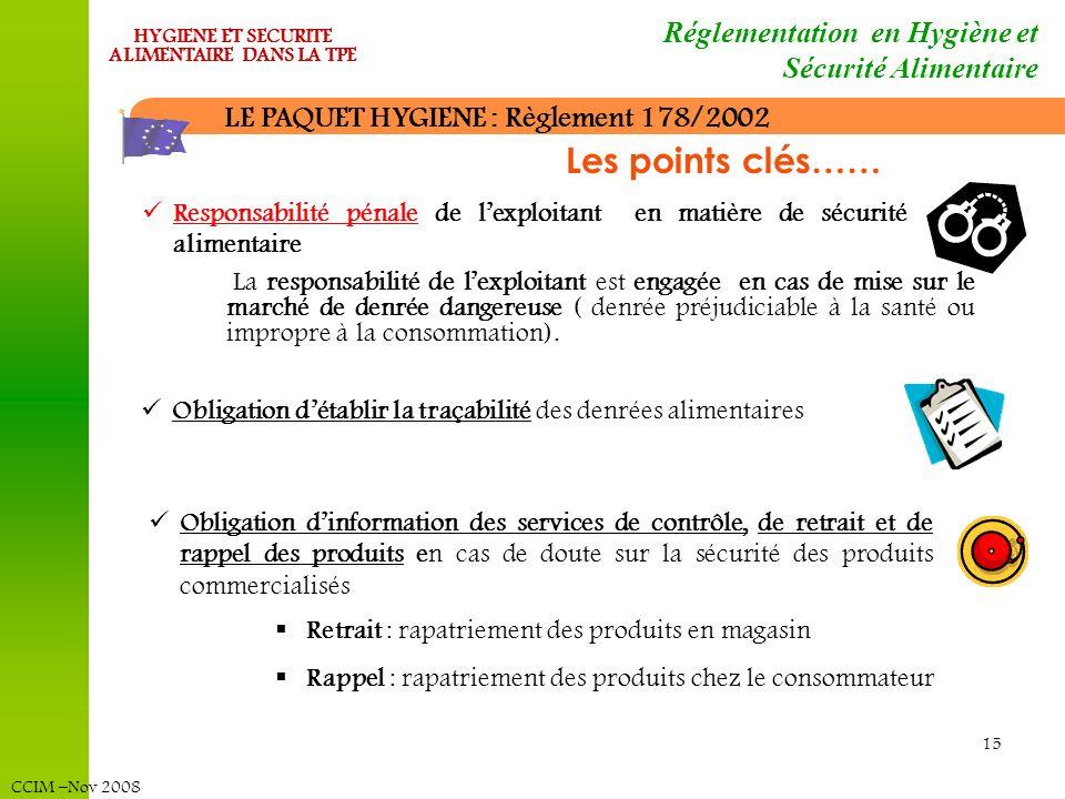 CCIM –Nov 2008 HYGIENE ET SECURITE ALIMENTAIRE DANS LA TPE 15 LE PAQUET HYGIENE : Règlement 178/2002 Responsabilité pénale de lexploitant en matière d