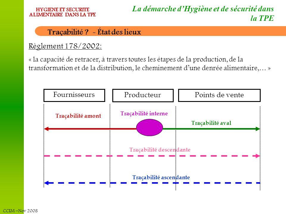 CCIM –Nov 2008 HYGIENE ET SECURITE ALIMENTAIRE DANS LA TPE La démarche dHygiène et de sécurité dans la TPE Traçabilité ? - État des lieux Règlement 17