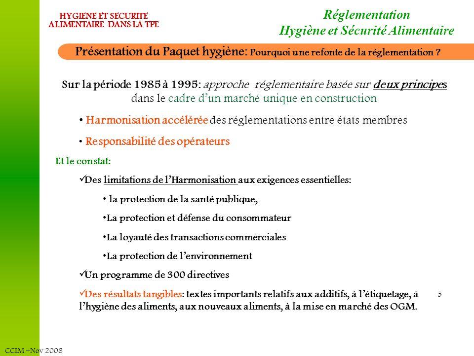 CCIM –Nov 2008 HYGIENE ET SECURITE ALIMENTAIRE DANS LA TPE Réglementation Hygiène et Sécurité Alimentaire Présentation du Paquet hygiène: Pourquoi une