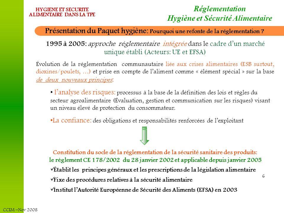CCIM –Nov 2008 HYGIENE ET SECURITE ALIMENTAIRE DANS LA TPE 17 LE PAQUET HYGIENE : Réglementation Hygiène et Sécurité Alimentaire Règlement 852/2004 Règles générales dhygiène pour toutes les denrées alimentaires