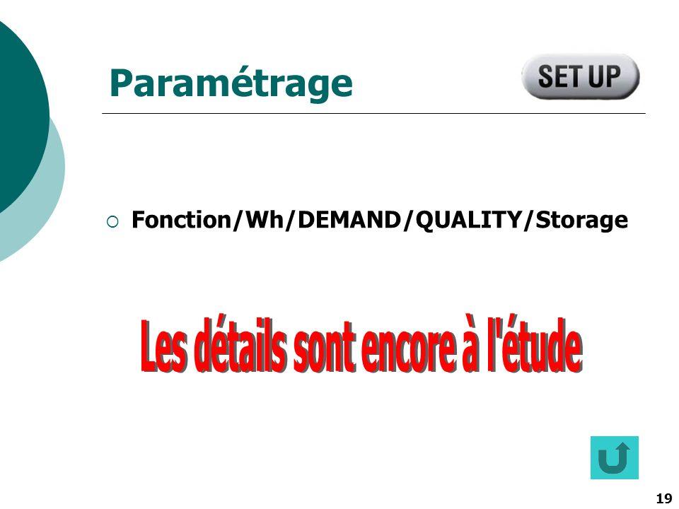 19 Paramétrage Fonction/Wh/DEMAND/QUALITY/Storage