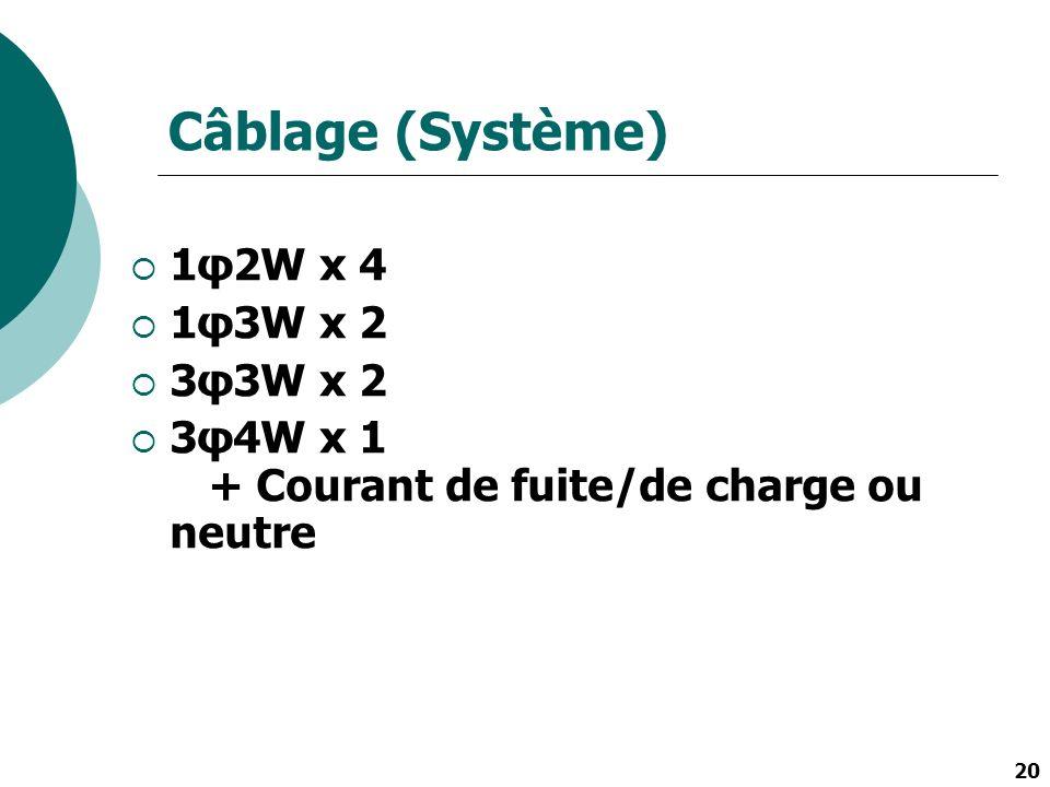 20 Câblage (Système) 1φ2W x 4 1φ3W x 2 3φ3W x 2 3φ4W x 1 + Courant de fuite/de charge ou neutre
