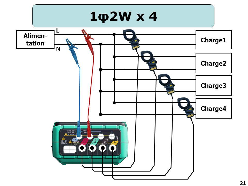 21 1φ2W x 4 Alimen- tation Charge2 Charge3 Charge4 N L Charge1