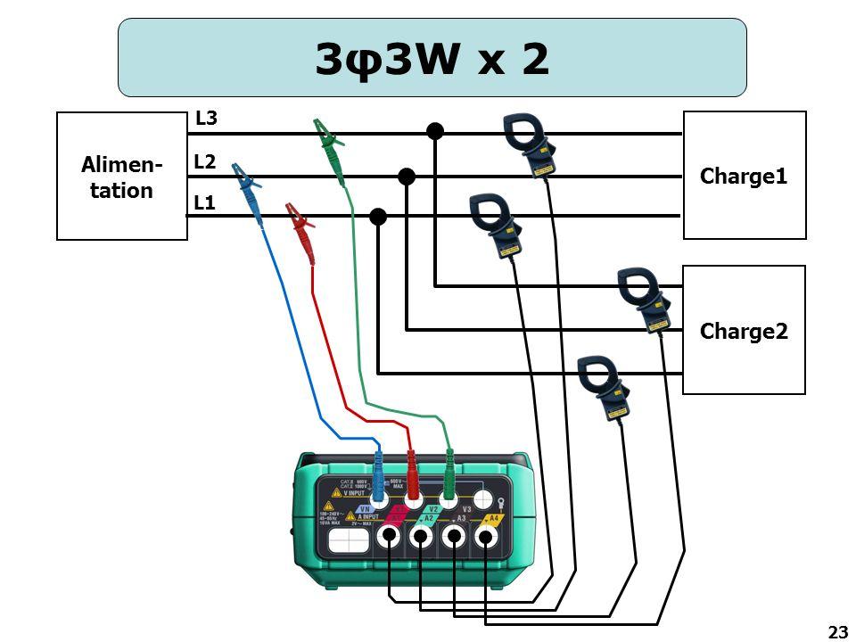 23 3φ3W x 2 Alimen- tation Charge1 Charge2 L2 L3 L1