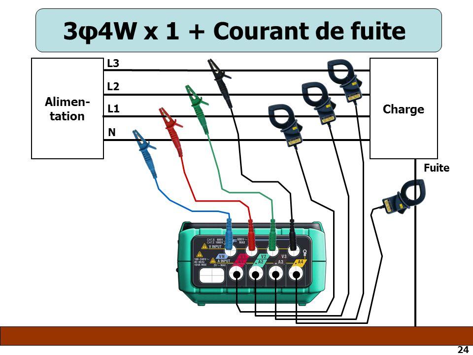 24 3φ4W x 1 + Courant de fuite Alimen- tation Charge N L1 L2 L3 Fuite