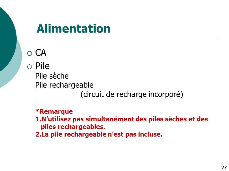 27 Alimentation CA Pile Pile sèche Pile rechargeable (circuit de recharge incorporé) *Remarque 1.Nutilisez pas simultanément des piles sèches et des p