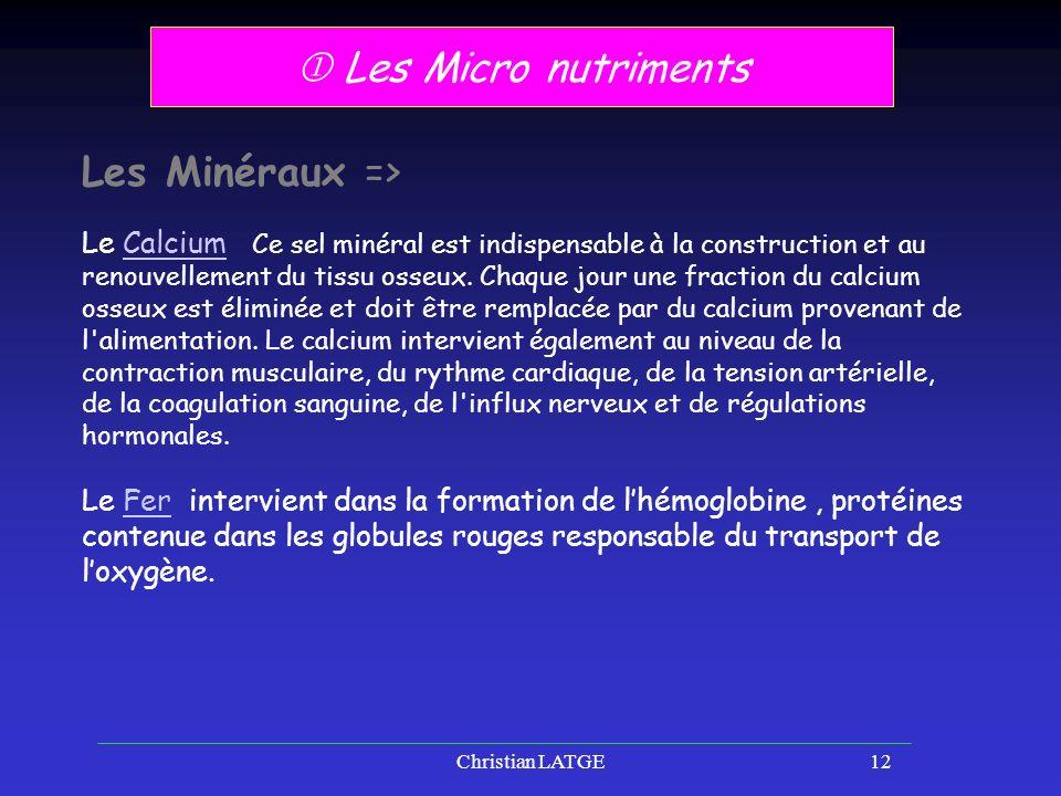 Christian LATGE12 Les Micro nutriments Les Minéraux => Le Calcium Ce sel minéral est indispensable à la construction et au renouvellement du tissu osseux.