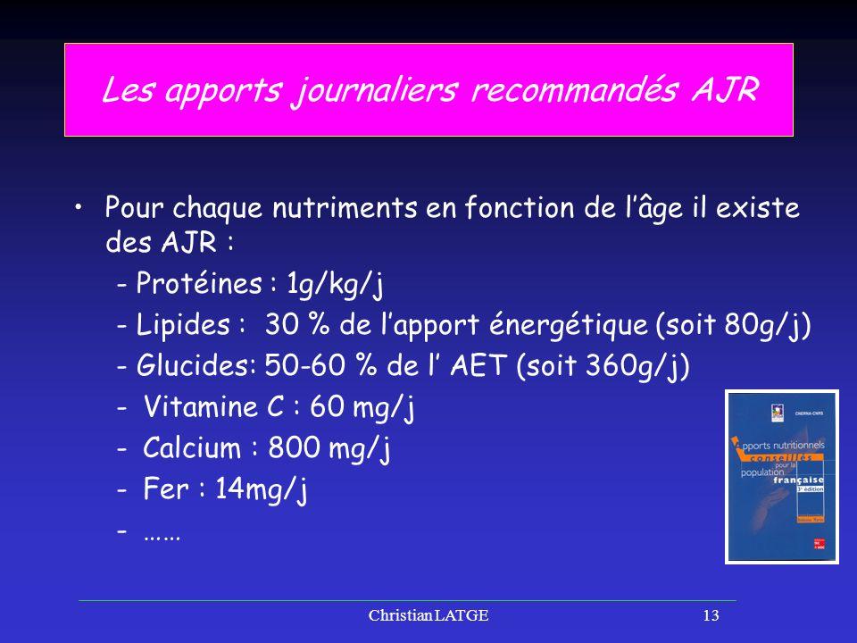 Christian LATGE13 Les apports journaliers recommandés AJR Pour chaque nutriments en fonction de lâge il existe des AJR : - Protéines : 1g/kg/j - Lipides : 30 % de lapport énergétique (soit 80g/j) - Glucides: 50-60 % de l AET (soit 360g/j) -Vitamine C : 60 mg/j -Calcium : 800 mg/j -Fer : 14mg/j -……
