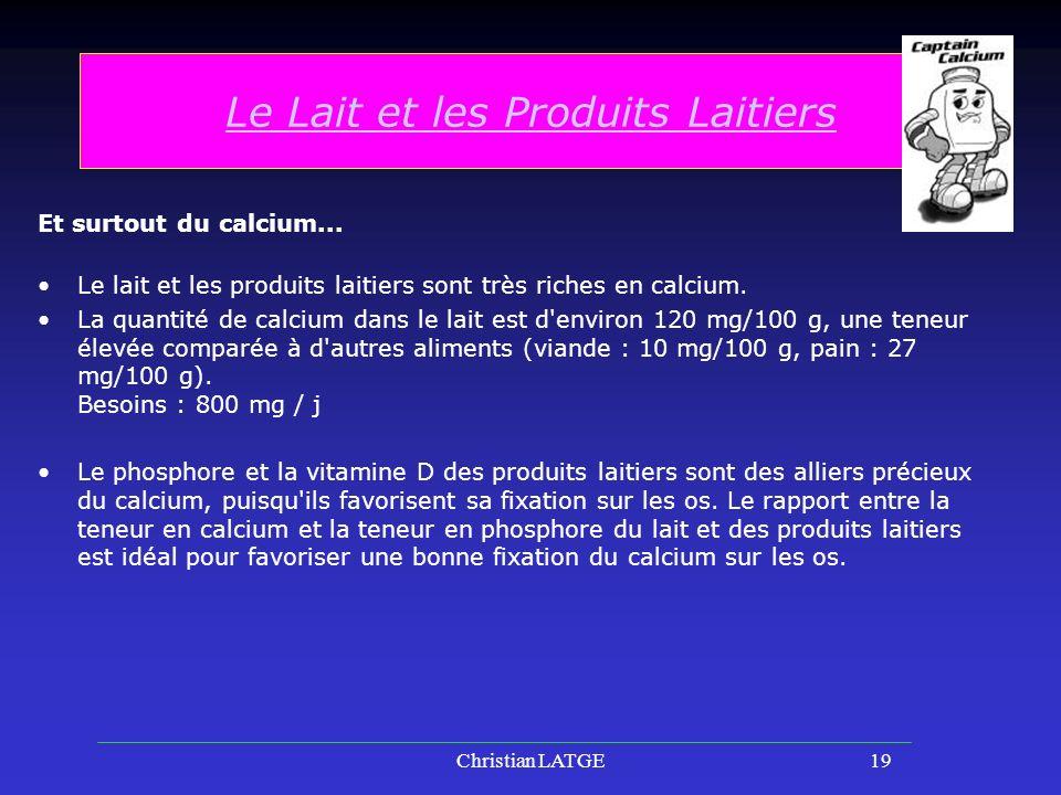 Christian LATGE19 Le Lait et les Produits Laitiers Et surtout du calcium...