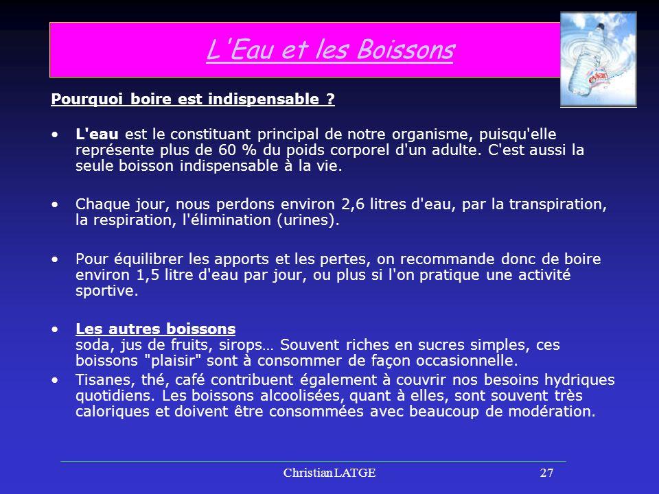 Christian LATGE27 L Eau et les Boissons Pourquoi boire est indispensable .