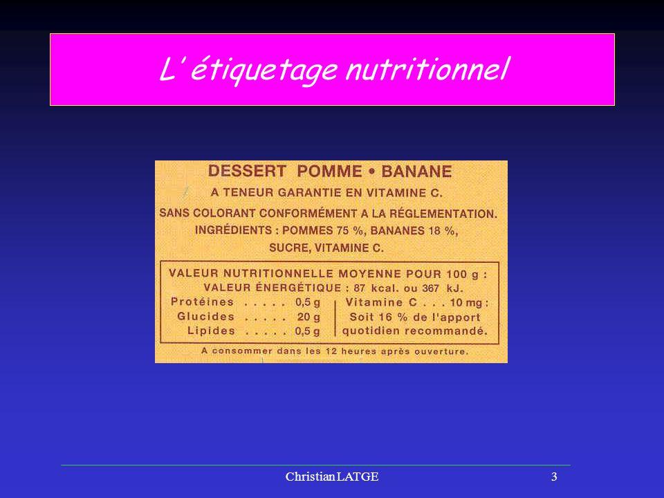 Christian LATGE3 L étiquetage nutritionnel
