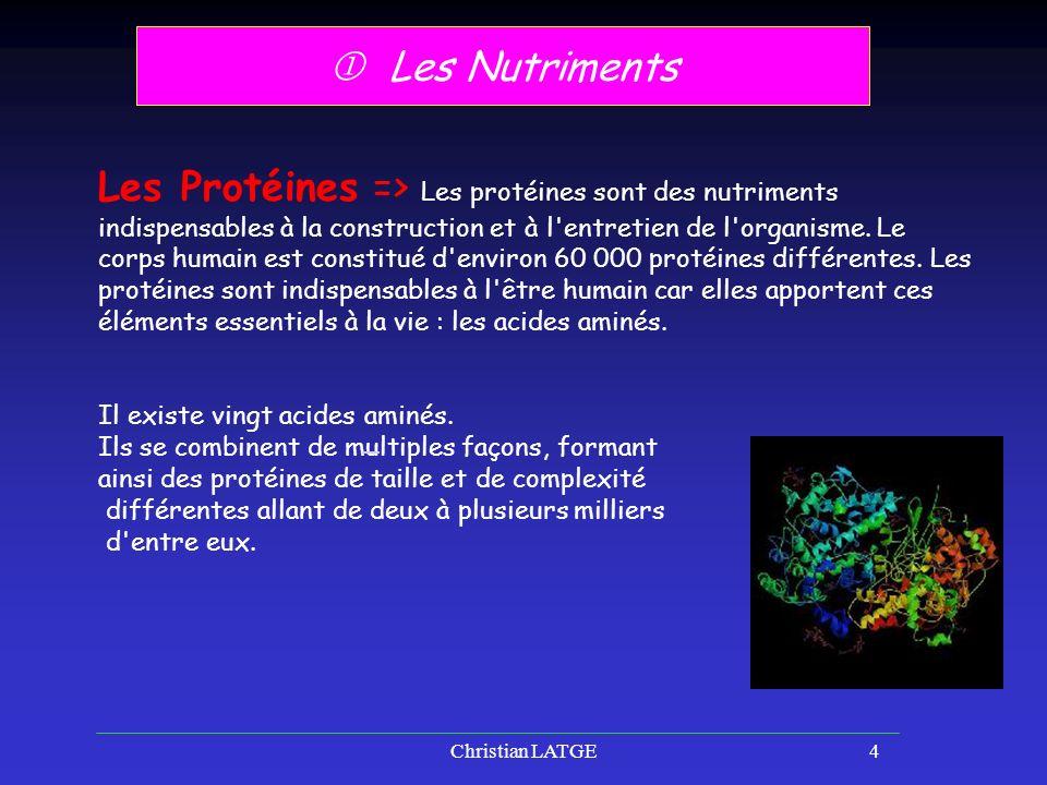 Christian LATGE4 Les Nutriments Les Protéines => Les protéines sont des nutriments indispensables à la construction et à l entretien de l organisme.