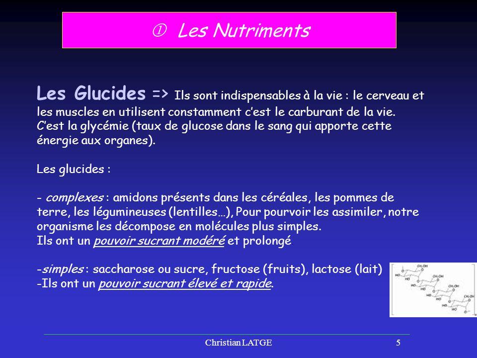 Christian LATGE5 Les Nutriments Les Glucides => Ils sont indispensables à la vie : le cerveau et les muscles en utilisent constamment cest le carburant de la vie.