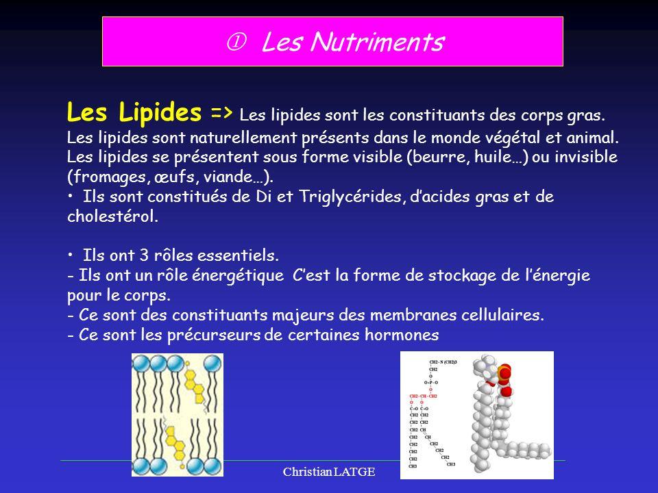 Christian LATGE6 Les Nutriments Les Lipides => Les lipides sont les constituants des corps gras.