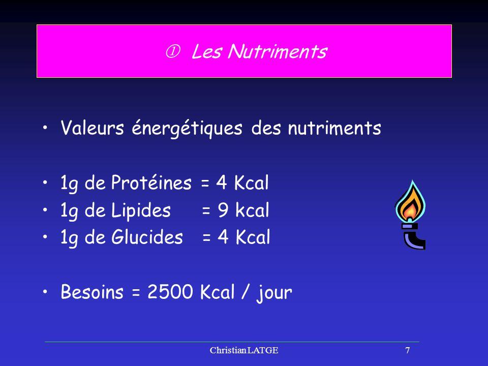 Christian LATGE7 Les Nutriments Valeurs énergétiques des nutriments 1g de Protéines = 4 Kcal 1g de Lipides = 9 kcal 1g de Glucides = 4 Kcal Besoins = 2500 Kcal / jour