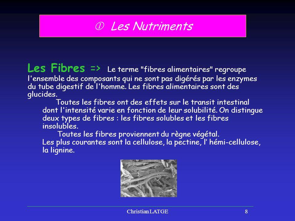 Christian LATGE8 Les Nutriments Les Fibres => Le terme fibres alimentaires regroupe l ensemble des composants qui ne sont pas digérés par les enzymes du tube digestif de l homme.