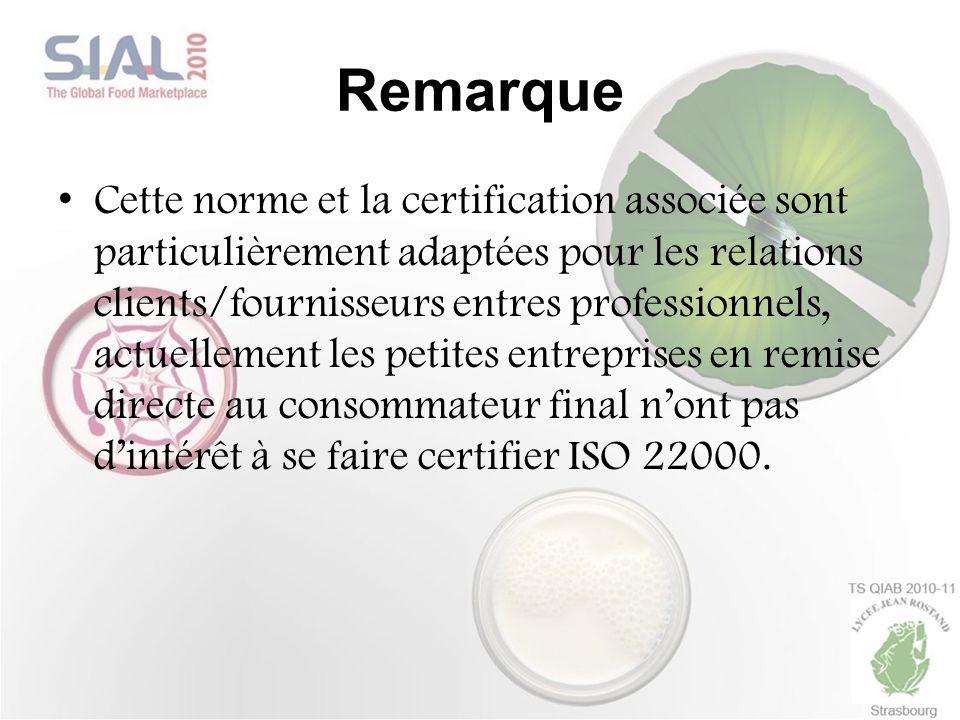 Remarque Cette norme et la certification associée sont particulièrement adaptées pour les relations clients/fournisseurs entres professionnels, actuel